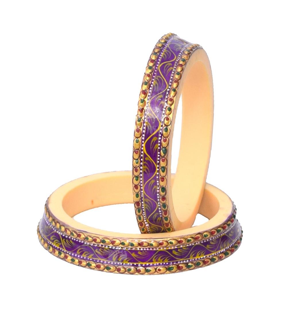Antique Traditional Purple Taper shape Handmade Handpainted Bangles Kadas for Women Set of 2