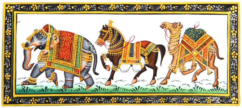 Indian Miniature Painting Rajasthani Elephant Horse Camel Trio Over 411 elephant png images are found on vippng. eshilp