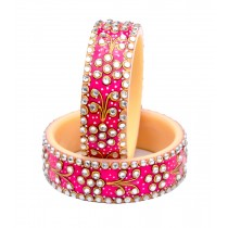 Antique Traditional Pink Handmade Handpainted Kundan Bangles Kadas for Women Set of 2