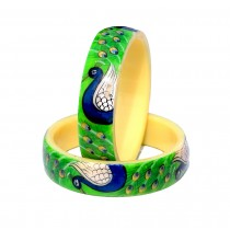 Antique Green  Handmade Handpainted Peacock Design Bangles Kadas for Women Set of 2