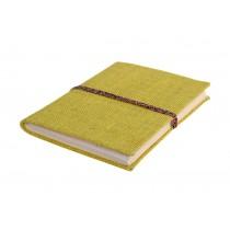 Handmade Jute Paper Diary Jute Fabric Cover Bahi Binding Yellow