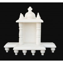 White Marble Home Temple Pooja Mandir small size 10.5 inches
