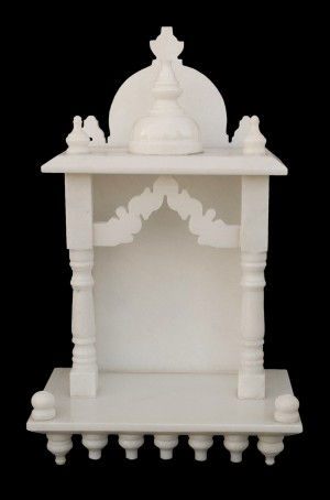 White Marble Home Temple Pooja Mandir small size 15 inches
